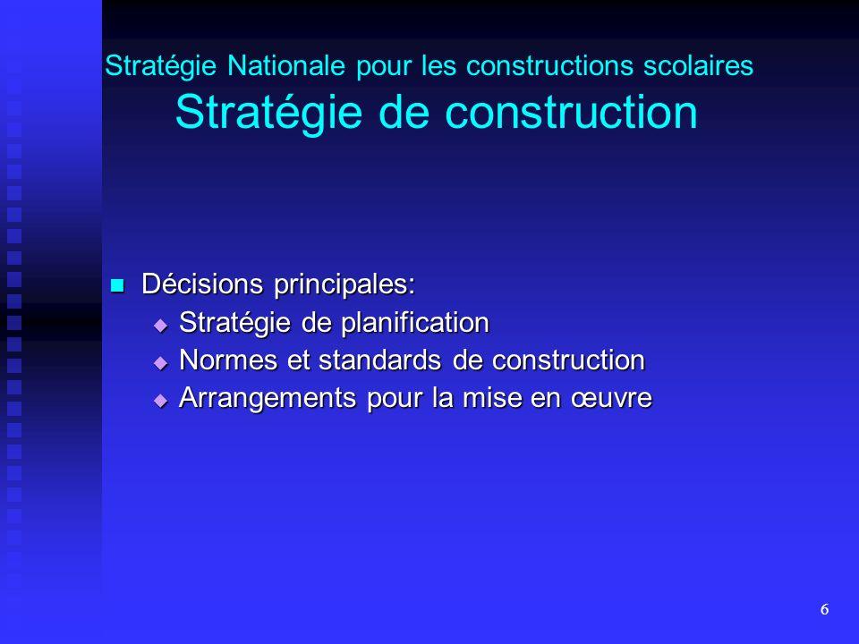 6 Stratégie Nationale pour les constructions scolaires Stratégie de construction Décisions principales: Décisions principales: Stratégie de planification Stratégie de planification Normes et standards de construction Normes et standards de construction Arrangements pour la mise en œuvre Arrangements pour la mise en œuvre