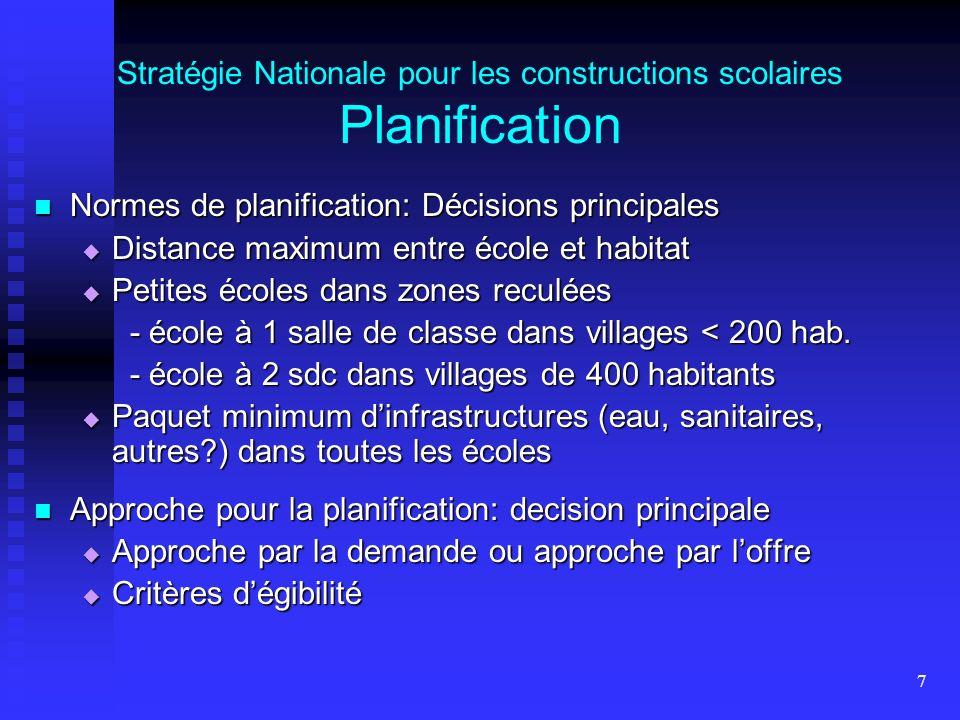 7 Stratégie Nationale pour les constructions scolaires Planification Normes de planification: Décisions principales Normes de planification: Décisions