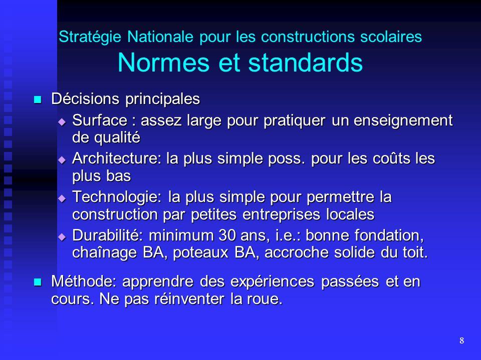 8 Stratégie Nationale pour les constructions scolaires Normes et standards Décisions principales Décisions principales Surface : assez large pour prat