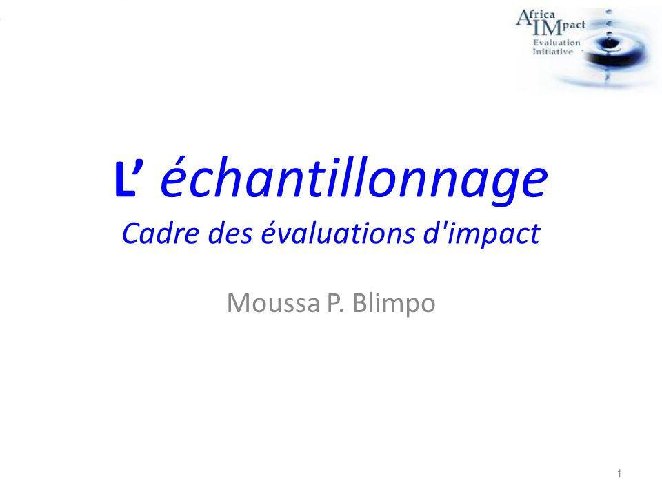 L échantillonnage Cadre des évaluations d'impact Moussa P. Blimpo 1