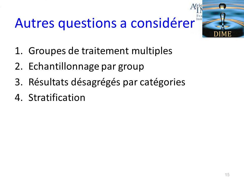 Autres questions a considérer 1.Groupes de traitement multiples 2.Echantillonnage par group 3.Résultats désagrégés par catégories 4.Stratification 15