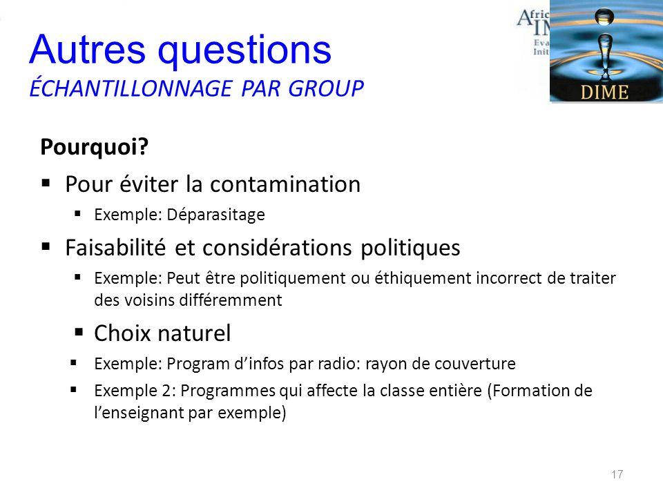 Pourquoi? Pour éviter la contamination Exemple: Déparasitage Faisabilité et considérations politiques Exemple: Peut être politiquement ou éthiquement