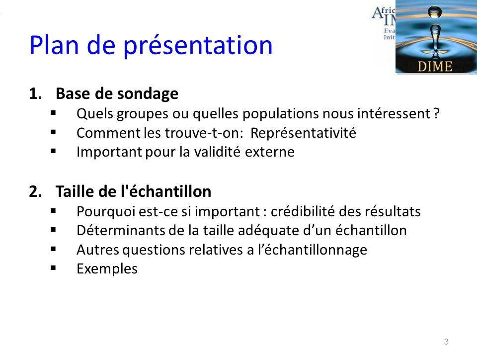 Plan de présentation 1.Base de sondage Quels groupes ou quelles populations nous intéressent ? Comment les trouve-t-on: Représentativité Important pou