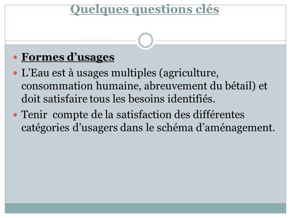 Quelques questions clés Formes dusages LEau est à usages multiples (agriculture, consommation humaine, abreuvement du bétail) et doit satisfaire tous les besoins identifiés.