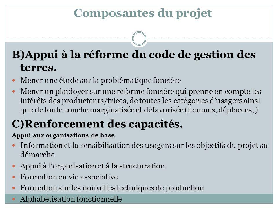 Composantes du projet B)Appui à la réforme du code de gestion des terres. Mener une étude sur la problématique foncière Mener un plaidoyer sur une réf