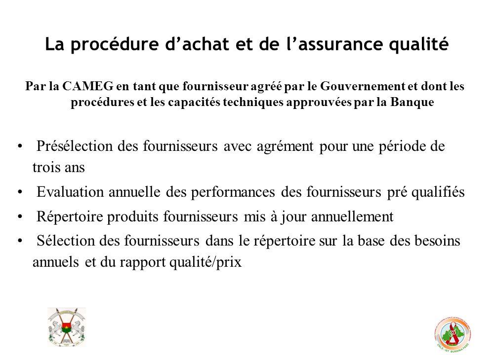 La procédure dachat et de lassurance qualité Par la CAMEG en tant que fournisseur agréé par le Gouvernement et dont les procédures et les capacités te