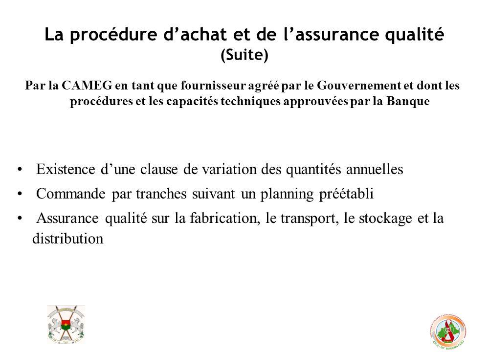 La procédure dachat et de lassurance qualité (Suite) Par la CAMEG en tant que fournisseur agréé par le Gouvernement et dont les procédures et les capa