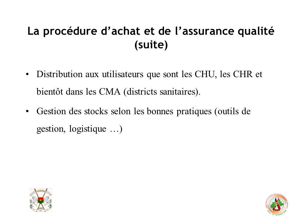 La procédure dachat et de lassurance qualité (suite) Distribution aux utilisateurs que sont les CHU, les CHR et bientôt dans les CMA (districts sanita