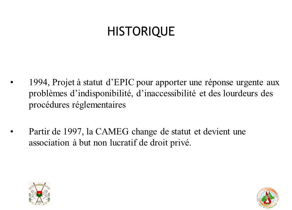 HISTORIQUE 1994, Projet à statut dEPIC pour apporter une réponse urgente aux problèmes dindisponibilité, dinaccessibilité et des lourdeurs des procédu