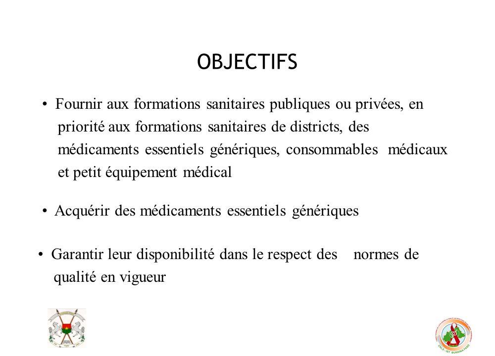 OBJECTIFS Fournir aux formations sanitaires publiques ou privées, en priorité aux formations sanitaires de districts, des médicaments essentiels génér
