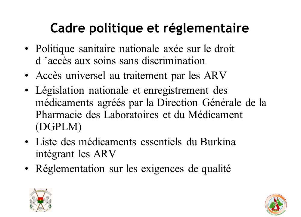Cadre politique et réglementaire Politique sanitaire nationale axée sur le droit d accès aux soins sans discrimination Accès universel au traitement p