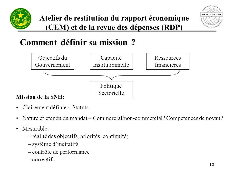 Atelier de restitution du rapport économique (CEM) et de la revue des dépenses (RDP) 10 Comment définir sa mission .