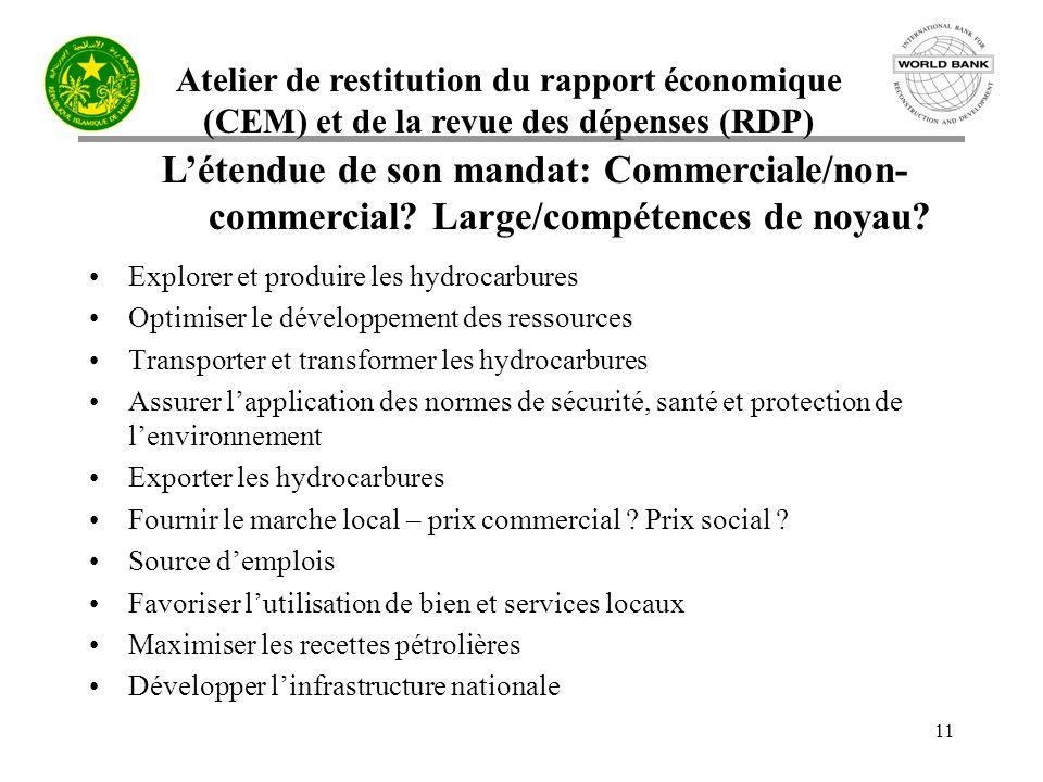 Atelier de restitution du rapport économique (CEM) et de la revue des dépenses (RDP) 11 Létendue de son mandat: Commerciale/non- commercial.