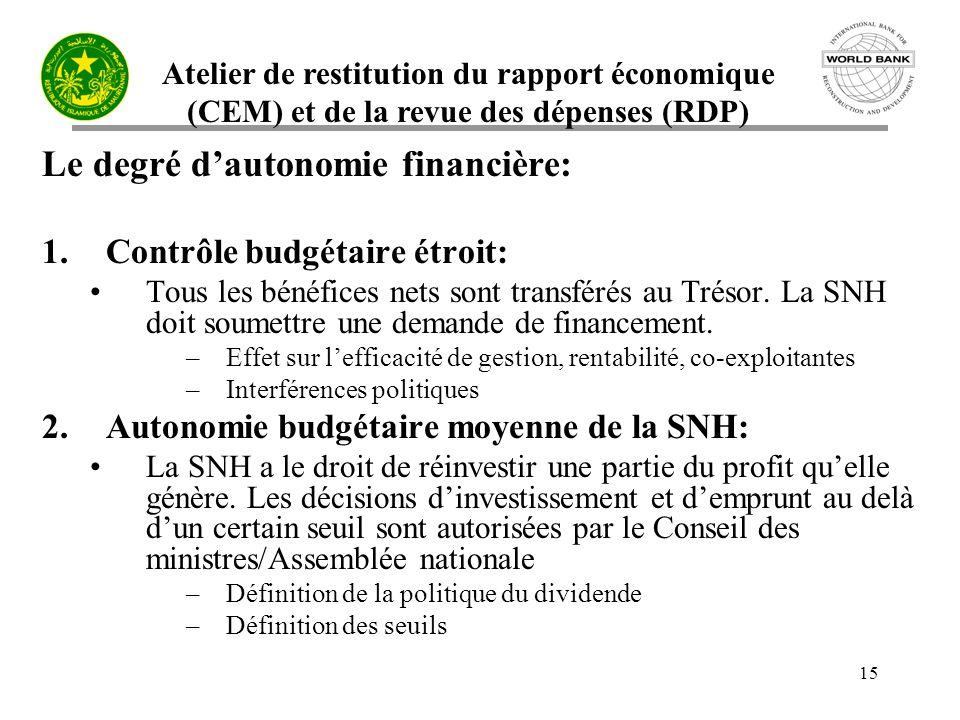 Atelier de restitution du rapport économique (CEM) et de la revue des dépenses (RDP) 15 Le degré dautonomie financière: 1.Contrôle budgétaire étroit: Tous les bénéfices nets sont transférés au Trésor.