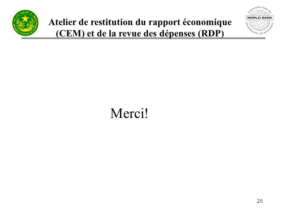 Atelier de restitution du rapport économique (CEM) et de la revue des dépenses (RDP) 20 Merci!