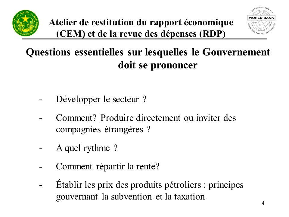 Atelier de restitution du rapport économique (CEM) et de la revue des dépenses (RDP) 4 Questions essentielles sur lesquelles le Gouvernement doit se prononcer -Développer le secteur .