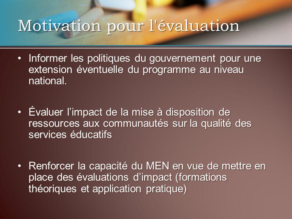 Motivation pour l évaluation Informer les politiques du gouvernement pour une extension éventuelle du programme au niveau national.Informer les politiques du gouvernement pour une extension éventuelle du programme au niveau national.