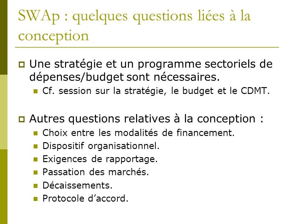 SWAp : quelques questions liées à la conception Une stratégie et un programme sectoriels de dépenses/budget sont nécessaires.