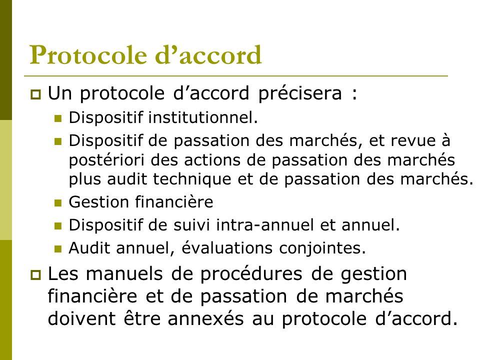 Protocole daccord Un protocole daccord précisera : Dispositif institutionnel. Dispositif de passation des marchés, et revue à postériori des actions d