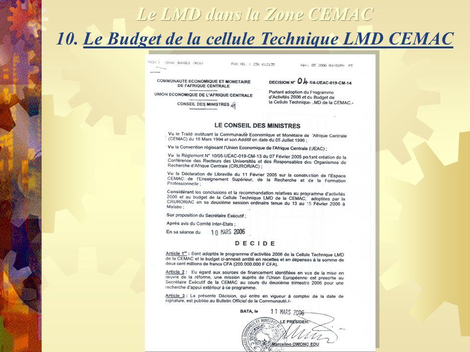 9. Activités de la cellule Technique LMD CEMAC 2006 (suite) Activités identifiées Sensibilisation Tâches Période 1.Pouvoirs public et corps Février-Ma