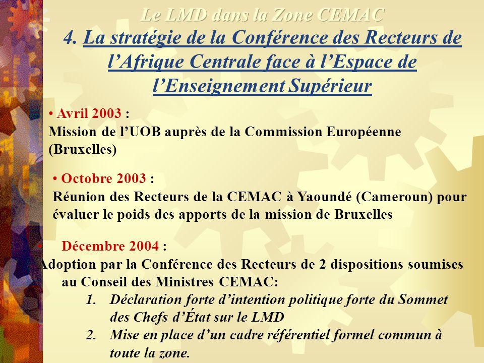 3. La Déclaration de Bologne et ses effets en Afrique Centrale 19 juin 1994 : Déclaration de Bologne en Italie 12 novembre 2002 : Mission de lUnion Eu