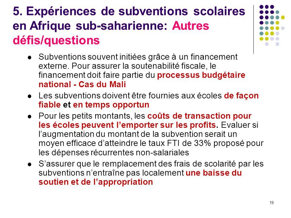 19 Subventions souvent initiées grâce à un financement externe.
