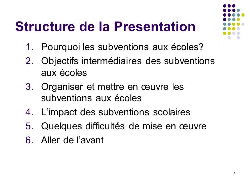 2 Structure de la Presentation 1.Pourquoi les subventions aux écoles.