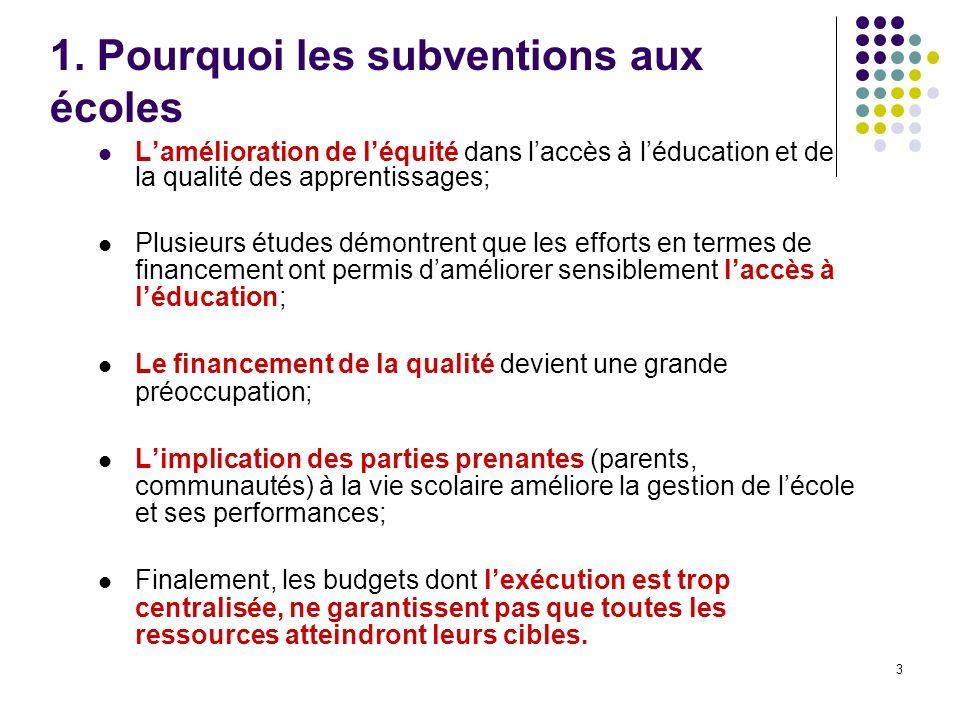 3 1. Pourquoi les subventions aux écoles Lamélioration de léquité dans laccès à léducation et de la qualité des apprentissages; Plusieurs études démon