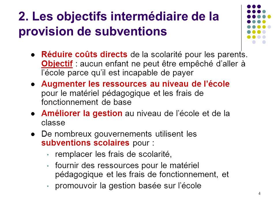 4 2. Les objectifs intermédiaire de la provision de subventions Réduire coûts directs de la scolarité pour les parents. Objectif : aucun enfant ne peu