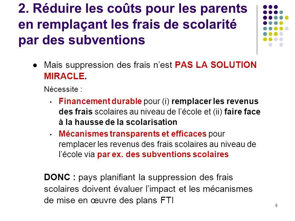 6 2. Réduire les coûts pour les parents en remplaçant les frais de scolarité par des subventions Mais suppression des frais nest PAS LA SOLUTION MIRAC