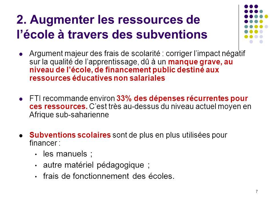 7 2. Augmenter les ressources de lécole à travers des subventions Argument majeur des frais de scolarité : corriger limpact négatif sur la qualité de