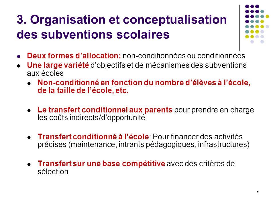 9 3. Organisation et conceptualisation des subventions scolaires Deux formes dallocation: non-conditionnées ou conditionnées Une large variété dobject