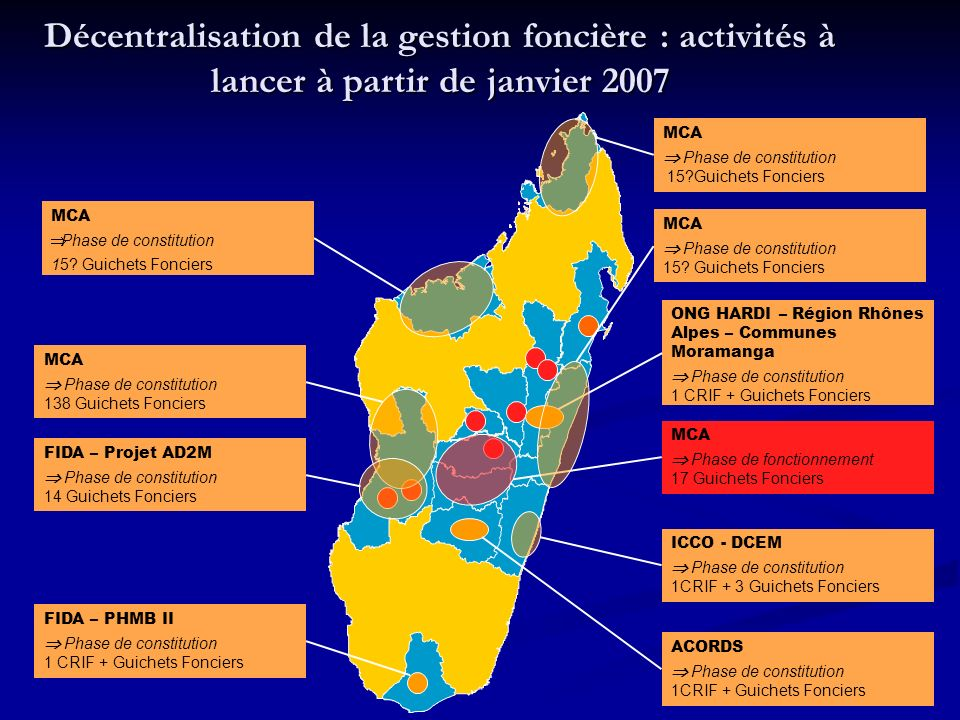 Décentralisation de la gestion foncière : activités à lancer à partir de janvier 2007 MCA Phase de fonctionnement 17 Guichets Fonciers MCA Phase de constitution 15?Guichets Fonciers MCA Phase de constitution 15.