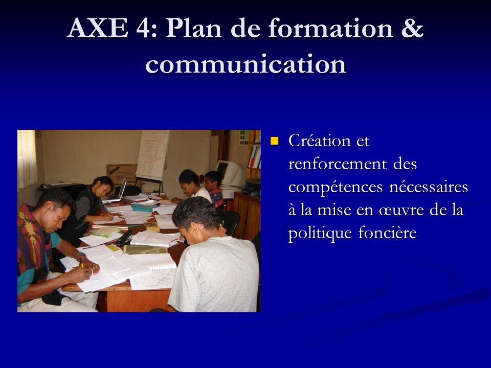 AXE 4: Plan de formation & communication Création et renforcement des compétences nécessaires à la mise en œuvre de la politique foncière