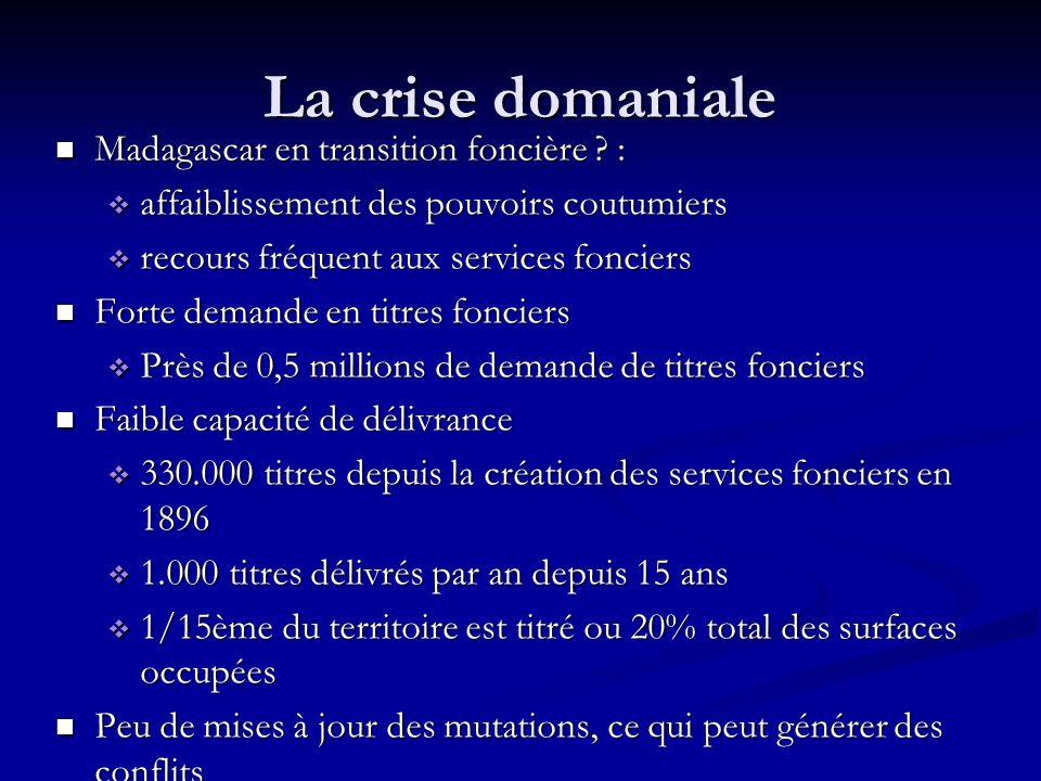 La crise domaniale Madagascar en transition foncière .