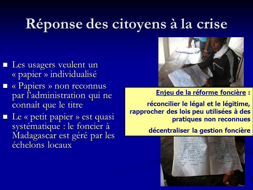 Réponse des citoyens à la crise Les usagers veulent un « papier » individualisé Les usagers veulent un « papier » individualisé « Papiers » non reconnus par ladministration qui ne connaît que le titre « Papiers » non reconnus par ladministration qui ne connaît que le titre Le « petit papier » est quasi systématique : le foncier à Madagascar est géré par les échelons locaux Le « petit papier » est quasi systématique : le foncier à Madagascar est géré par les échelons locaux Enjeu de la réforme foncière : réconcilier le légal et le légitime, rapprocher des lois peu utilisées à des pratiques non reconnues décentraliser la gestion foncière