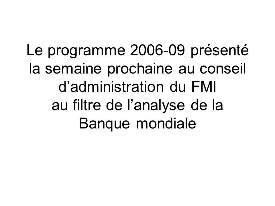 Le programme 2006-09 présenté la semaine prochaine au conseil dadministration du FMI au filtre de lanalyse de la Banque mondiale