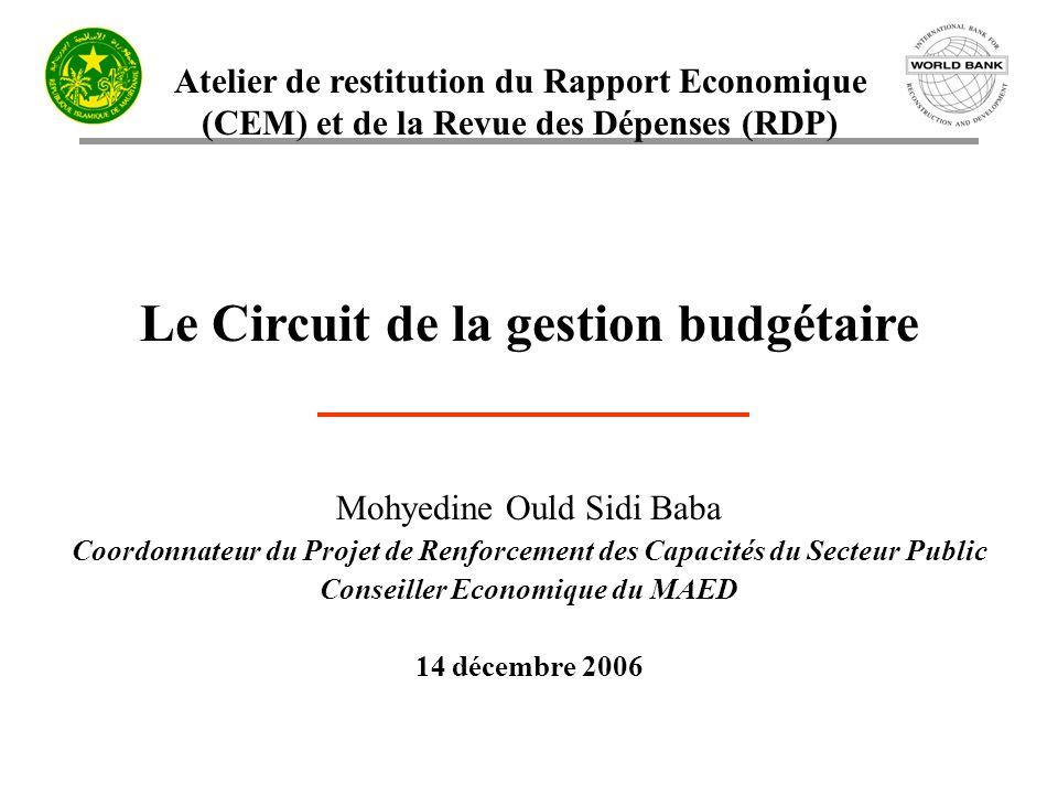 Atelier de restitution du Rapport Economique (CEM) et de la Revue des Dépenses (RDP) Le Circuit de la gestion budgétaire Mohyedine Ould Sidi Baba Coor