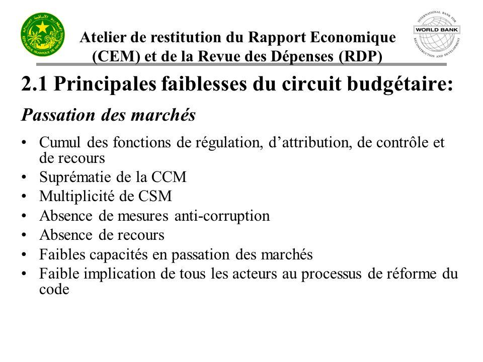 Atelier de restitution du Rapport Economique (CEM) et de la Revue des Dépenses (RDP) 2.1 Principales faiblesses du circuit budgétaire: Passation des m