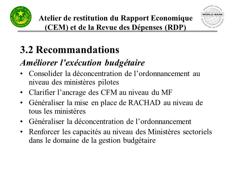 Atelier de restitution du Rapport Economique (CEM) et de la Revue des Dépenses (RDP) 3.2 Recommandations Améliorer lexécution budgétaire Consolider la
