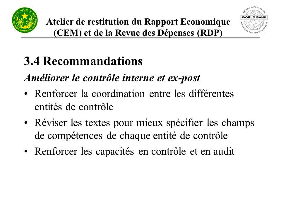 Atelier de restitution du Rapport Economique (CEM) et de la Revue des Dépenses (RDP) 3.4 Recommandations Améliorer le contrôle interne et ex-post Renf