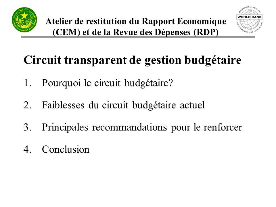 Atelier de restitution du Rapport Economique (CEM) et de la Revue des Dépenses (RDP) Circuit transparent de gestion budgétaire 1.Pourquoi le circuit b