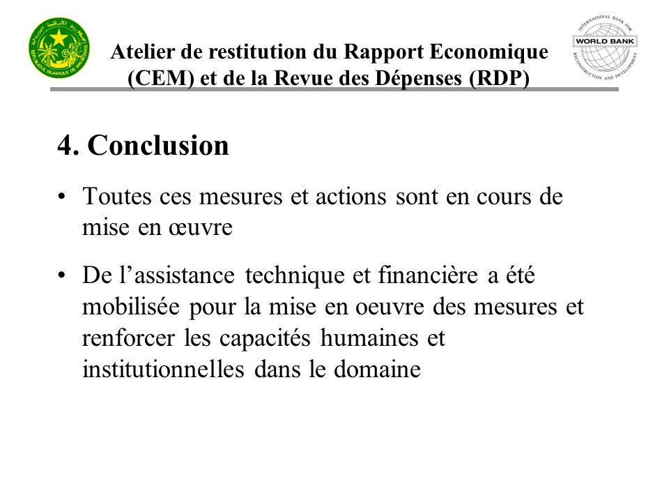 Atelier de restitution du Rapport Economique (CEM) et de la Revue des Dépenses (RDP) 4. Conclusion Toutes ces mesures et actions sont en cours de mise