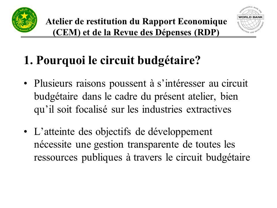 Atelier de restitution du Rapport Economique (CEM) et de la Revue des Dépenses (RDP) 1. Pourquoi le circuit budgétaire? Plusieurs raisons poussent à s