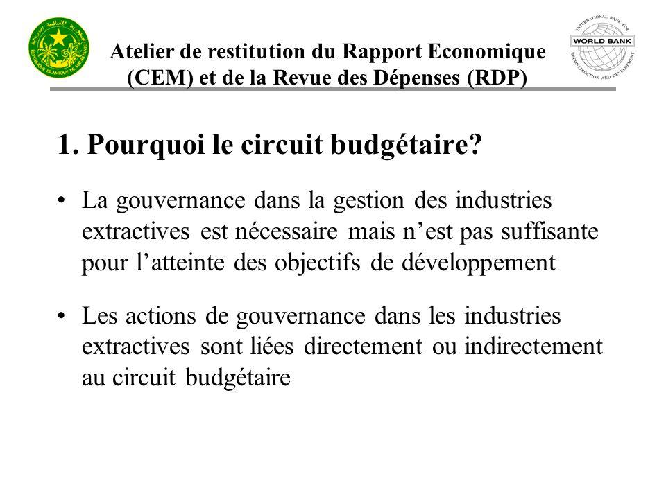 Atelier de restitution du Rapport Economique (CEM) et de la Revue des Dépenses (RDP) 1. Pourquoi le circuit budgétaire? La gouvernance dans la gestion