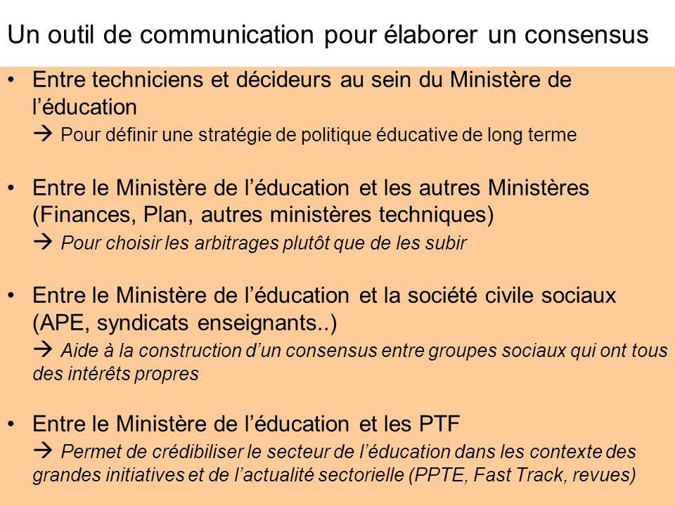 Un outil de communication pour élaborer un consensus Entre techniciens et décideurs au sein du Ministère de léducation Pour définir une stratégie de p