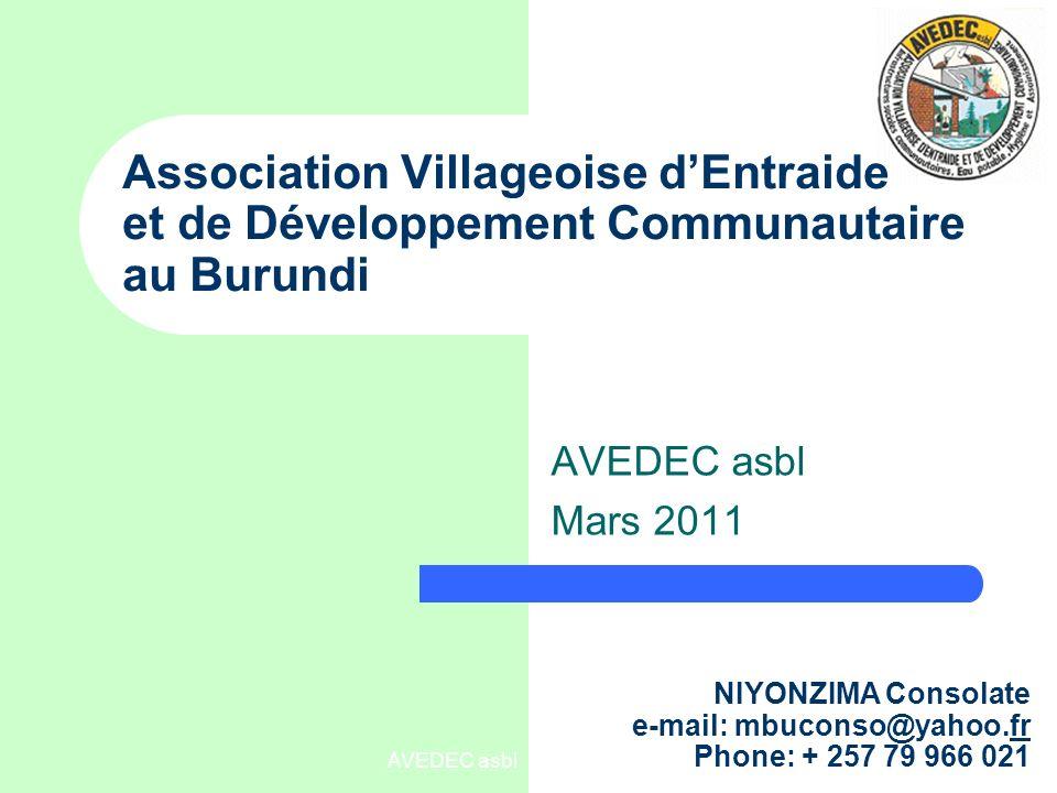 AVEDEC asbl Contexte : Burundi pays dAfrique centrale/orientale, EAC,membre East African Community Population : 8 million Superficie :27834 km², 262 hab/km² 1993 – 2000 : la guerre civile Beaucoup dinfrastructures détruites