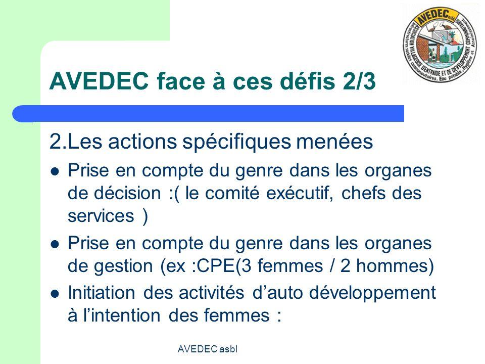 AVEDEC asbl AVEDEC face à ces défis 2/3 2.Les actions spécifiques menées Prise en compte du genre dans les organes de décision :( le comité exécutif,