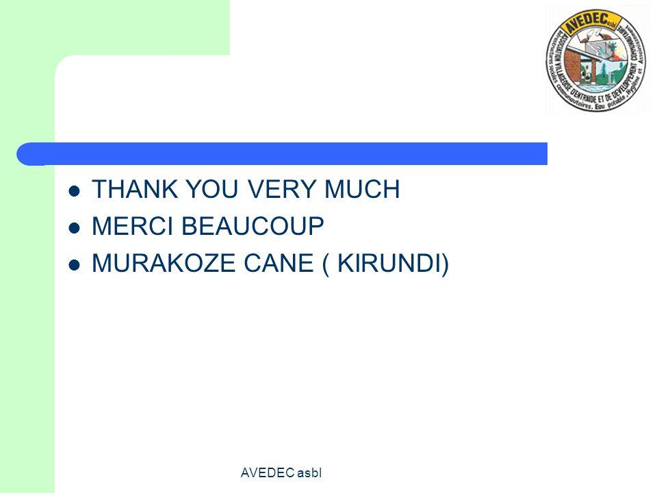 AVEDEC asbl THANK YOU VERY MUCH MERCI BEAUCOUP MURAKOZE CANE ( KIRUNDI)
