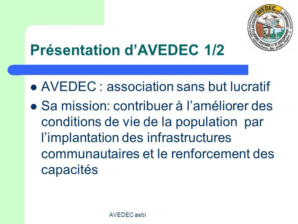 AVEDEC asbl Présentation dAVEDEC 1/2 AVEDEC : association sans but lucratif Sa mission: contribuer à laméliorer des conditions de vie de la population